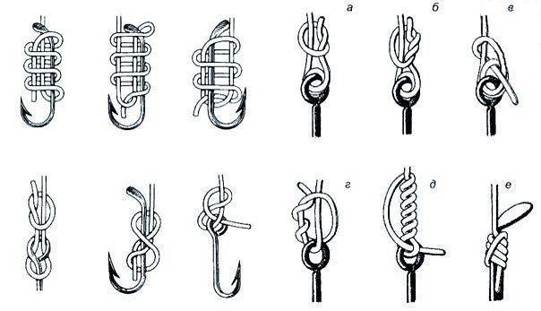 как привязывать рыболовные крючки без ушка к леске